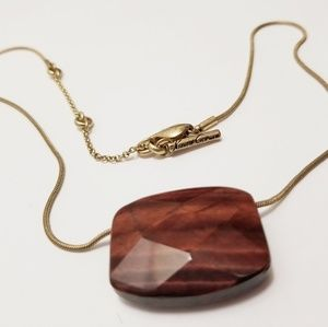 Kenneth Cole Necklace brown stone brass necklace